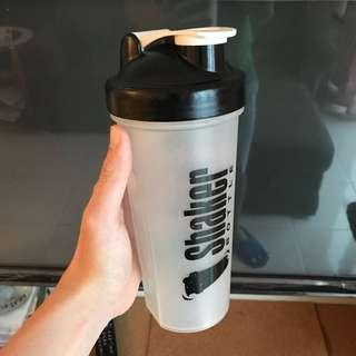 Patented Shaker protein bottle with spring ball
