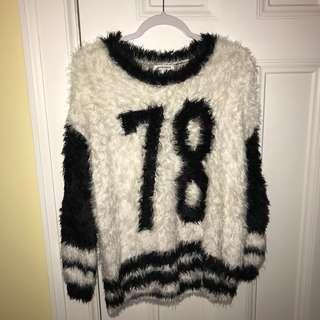 "Glamorous Black and White Faux Fur ""78"" Sweater"