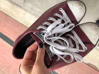 Maroon leather chucks