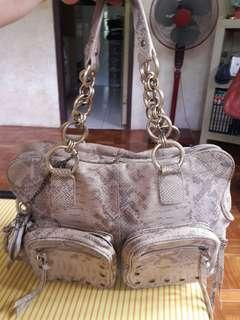 XIX Genuine Leather Gold Python Bag Authentic