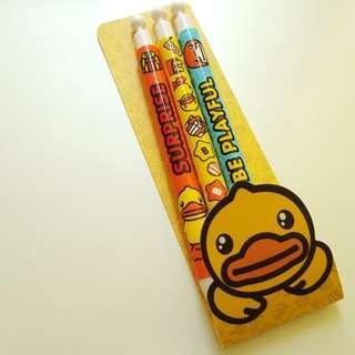 B duck bduck be playful 鉛芯筆 紅黑 原子筆 小黃鴨 黃鴨 筆套裝 pen set