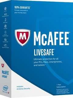 Mcafee livesafe 2018 - 1 Year Unlimited Device