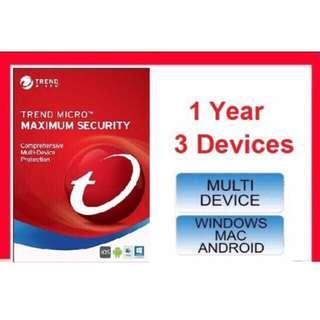 [ GENUINE ] Trend Micro Maximum Security 2018 - 1 Year 3 PC