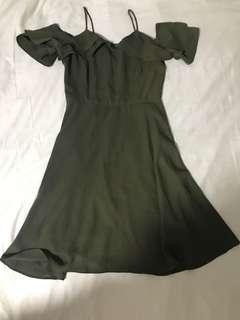 Army green cold shoulder dress