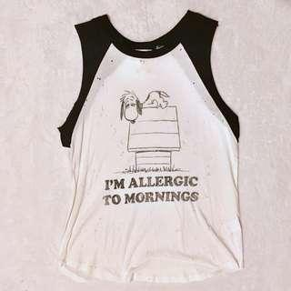 "Snoopy is Right! ""I am Allergic to Mornings"" Daydreamer Sleeveless Top - Size Small"