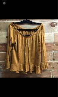 Off shoulder mustard