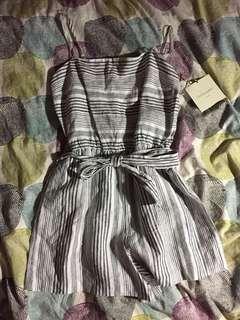 Striped white and dark grey romper