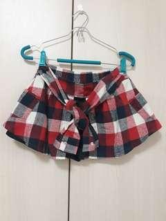 🚚 Queenshop 紅藍色格紋假二件綁帶褲裙
