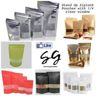 Stand Up Ziplock Pouches with 1/4 window