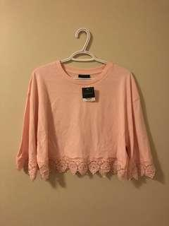 Baby Pink Topshop Lace Top
