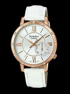 CASIO SHEEN COLOUR SERIES SWAROVSKI® CRYSTALS WHITE LEATHER STRAP WATCH SHE3046GLP-7A