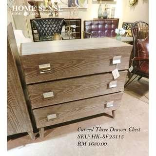 Curved Three Drawer Chest