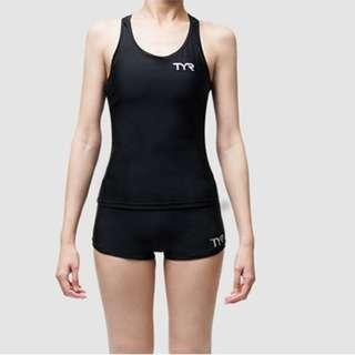 (全新)美國TYR黑色兩件式四角平口褲游泳泳裝泳衣(S)
