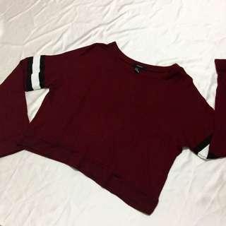 F21 Semi-cropped Red Sweater