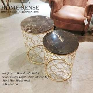 Set Of Two Round Side Tables/Polished Light Brown Marble Top