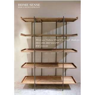 Metal & Natural Wood Five Shelf Bookcase