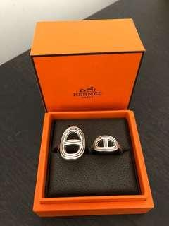 Hermes double silver ring