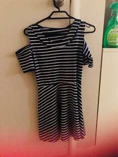 Mini blue dress with white stripes
