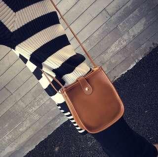 Vintage Brown PU Leather Sling Bag