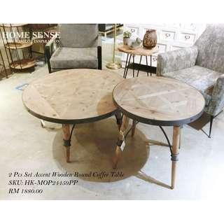 2 Pcs Set Accent Wooden Round Coffee Table