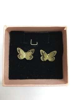 Golden butterfly earring