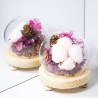 Preserved Flowers with Pink Cotton