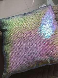 Mermaid iridescent and rainbow reversal sequins sofa cushion
