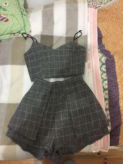 Grey Checkered Grid Print Crop Top and Shorts Set