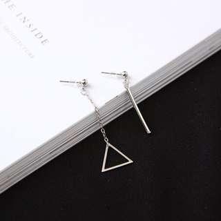 anting korea segitiga assymetry silver korean earrings