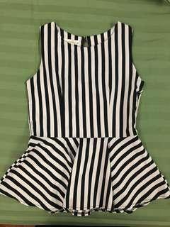 Black&white Striped Peplum Top
