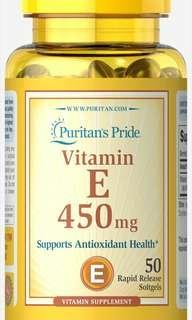 Puritans pride vitamin e 450mg 50 soft gel