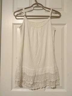(FREE with purchase) White frilly tank top
