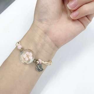 Handmade Dry Flower Glass Ball with Adjustable Bracelets