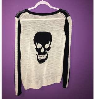 Skull Cashmere - Black and White Pullover with Skull Detail on Back Size SMALL