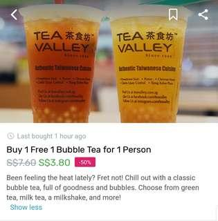Tea Valley 1 for 1 bubble tea voucher