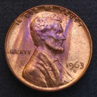 1963-D版 美國林肯一仙美金 硬幣一枚