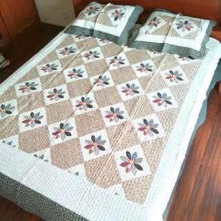 230 x 250 Shabby Chic Bedcover Set Quilt Patchwork