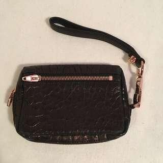 Alexander Wang Fumo Black Leather Wristlet