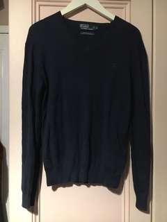 Authentic Ralph Lauren Polo V neck navy blue sweater
