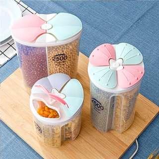 五穀雜糧收納盒 分格透明雜糧儲物罐 廚房收納盒 防潮花瓣密封罐