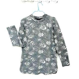 Big Size Blouse Floral Grey Import Long Sleeve Tunik Oversize Jumbo Bigsize