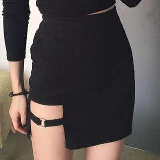 Korean Cut-Out Strap Accent Pencil Skirt