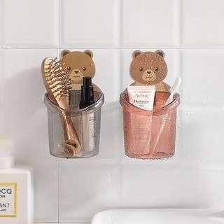 創意卡通衛生間置物架 免打孔 浴室洗漱台吸壁掛式牙膏 牙刷收納架