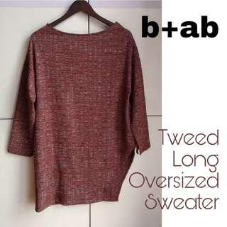 b+ab Tweed Oversized Long Sweater (Rust)