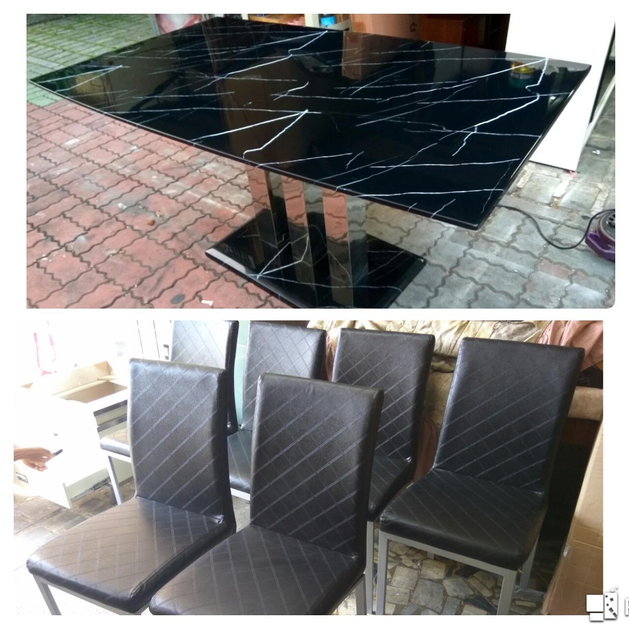 大理石餐桌組150*90*75+6椅限送台南市區