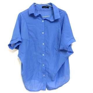 🚚 🎀全新🎀藍色雪紡襯衫#十月女裝半價