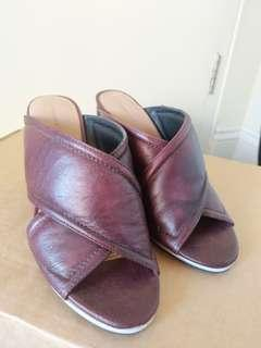 Country road burgundy mules