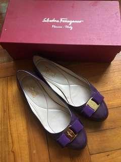 Salvatore Ferragamo Shoes 紫色 平底鞋 varina 8D flats shoes 蝴蝶結 金扣 娃娃鞋