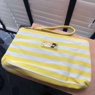 Yellow stripe mamonde wristlet and pouch