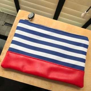 Belif blue striped pouch